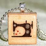 Sewing Machine Scrabble Pendant wit..