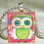 Little Green Owl Scrabble Pendant w..