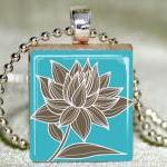 Magnolia on Teal Scrabble Pendant w..