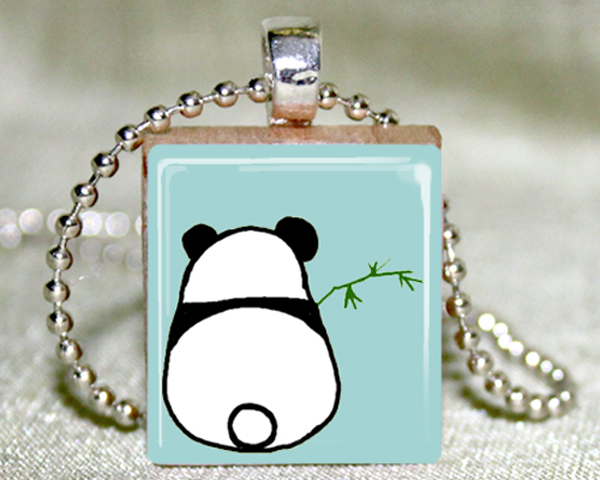 Shy Panda Scrabble Pendant with Necklace and Matching Gift Tin