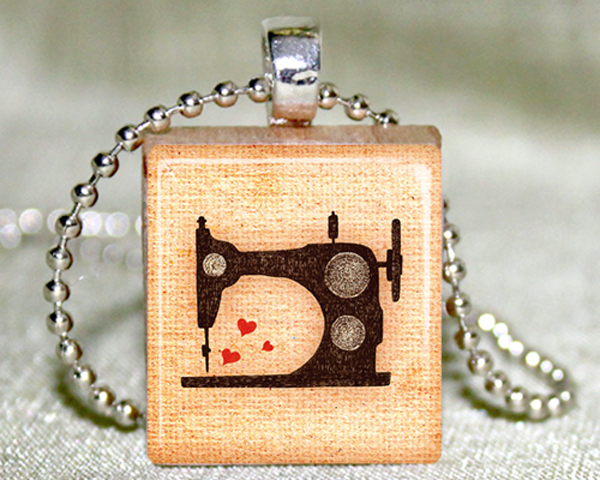 Sewing Machine Scrabble Pendant with Necklace and Matching Gift Tin