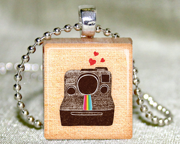 Polaroid Love Scrabble Pendant with Necklace and Matching Gift Tin