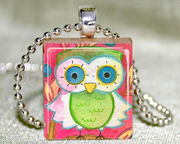 Little Green Owl Scrabble Pendant with Necklace and Matching Gift Tin