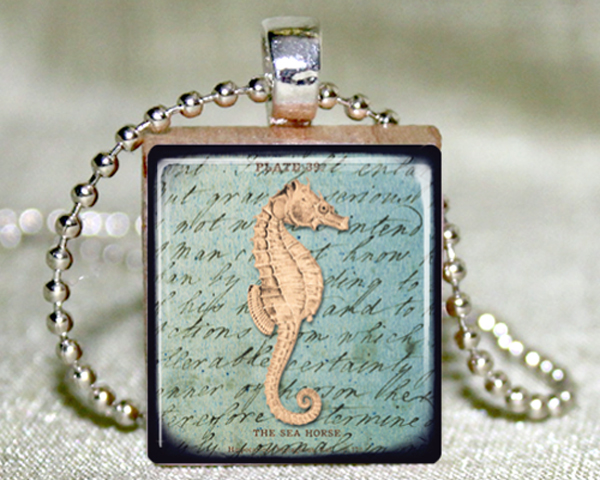 Seahorse Scrabble Pendant with Necklace and Matching Gift Tin