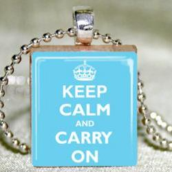 Keep Calm and Carry On (Blue) Scrabble Pendant with Necklace and Matching GIft Tin