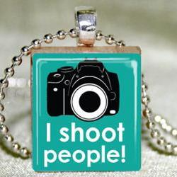 I Shoot People Scrabble Pendant with Necklace and Matching Gift Tin