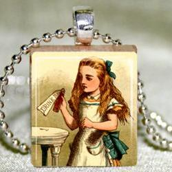 Alice Drink Me Scrabble Pendant with Necklace and Matching Gift Tin