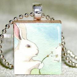 Make a Wish Bunny Scrabble Pendant with Necklace and Matching Gift Tin