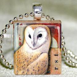 Barn Owl Scrabble Pendant with Necklace and Matching Gift Tin