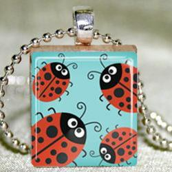 Bunch of Ladybugs Scrabble Pendant with Necklace and Matching Gift Tin