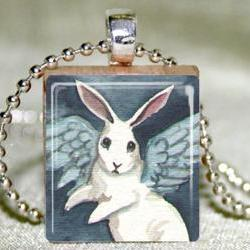 Angel Bunny Scrabble Pendant with Necklace and Matching Gift Tin