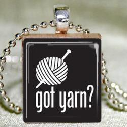 Got Yarn Scrabble Pendant with Necklace and Matching Gift TIn