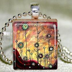 Flowers in the Sunset Scrabble Pendant with Necklace and Matching Gift Tin