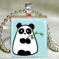 Panda Scrabble Pendant with Necklace and Matching Gift TIn