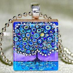 Blue Tree of Life Scrabble Pendant with Necklace and Matching Gift Tin
