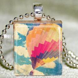 Hot Air Balloon Scrabble Pendant with Necklace and Matching Gift Tin