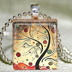 Cherry Tree Scrabble Pendant with Necklace and Matching Gift Tin