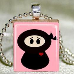 Lil Ninja Scrabble Pendant with Necklace and Matching Gift Tin