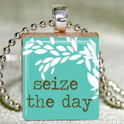 Seize the Day Scrabble Pendant with Necklace and Matching Gift Tin
